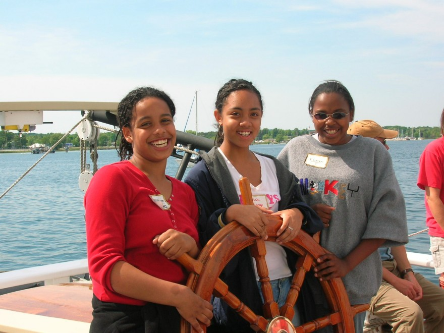 African American girls steering the ship