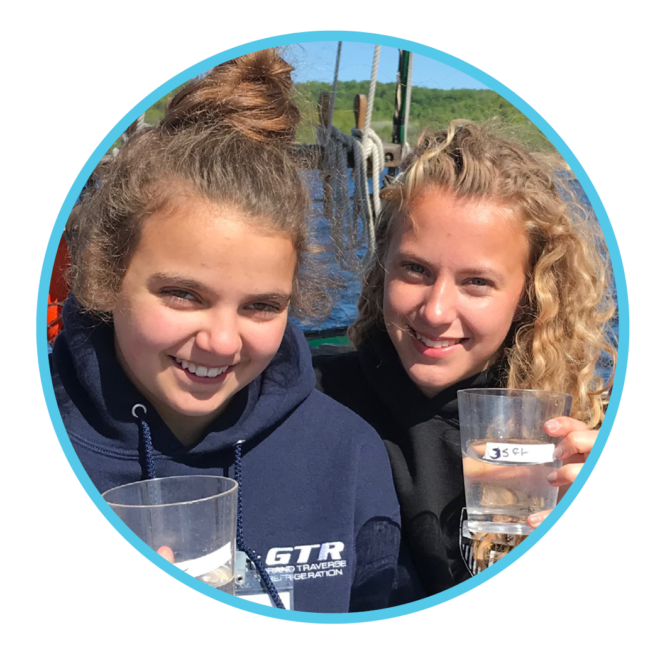 Girls with water samples