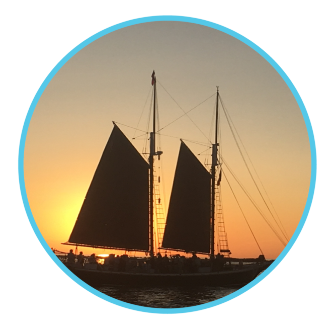 silhouette of schooner where family programs take place