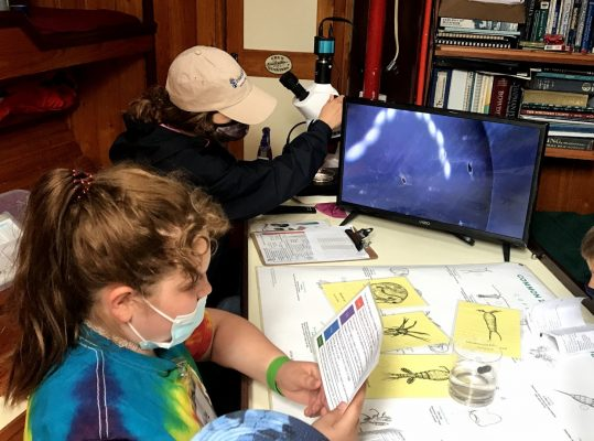 Student reading card about plankton, part of ISEA's Great Lakes science curriculum.