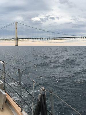 Mackinac Bridge in distance from ship