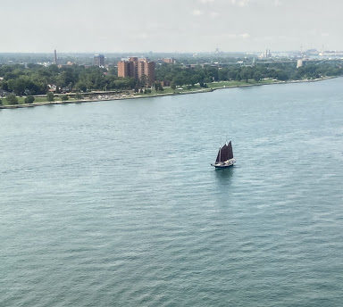 tall ship on river